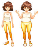 A fat and a slim lady in their yellow pants Royalty Free Stock Images