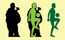 Fat and Slim Man Silhouette with soccer ball vector illustration