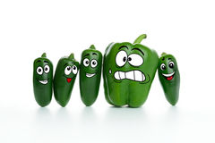 Fat and slim pepper. Fat green paprika and slim jalapeno cartoon characters Stock Images