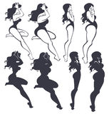Fat and slim. Pinup girls collection Royalty Free Stock Photo