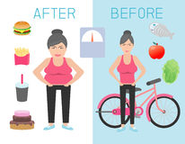 Fat and slim woman figure before and after the diet,healthy lifestyle,obese women lose weight ,thick and thin girls,Fat and thin w Stock Photo