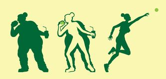 Fat and slim woman silhouettes lose weight with exercising shot put royalty free illustration