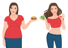 Fat and slim woman before and after weight loss Stock Image