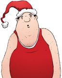 Fat Slob Man Wearing Santa Claus Hat Cartoon Stock Photo