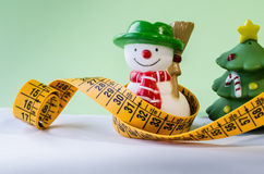 Fat snowman. After the excesses of Christmas have to go on a diet and get healthy Royalty Free Stock Photos