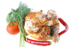 Fat spiced chicken with raw Stock Photos