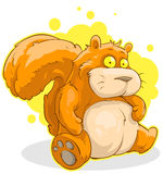 Fat cartoon sitting red squirrel Stock Photo