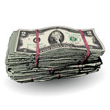 A fat stack of 2 dollar bills Stock Photography