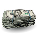 A fat stack of 5 dollar bills Royalty Free Stock Image