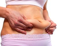 Fat stomach. Woman fat belly. Overweight and weight loss concept Royalty Free Stock Image