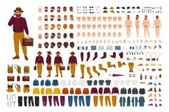 Fat or stout man constructor set or DIY kit. Bundle of flat cartoon character body parts in various postures, stylish. Clothes isolated on white background royalty free illustration