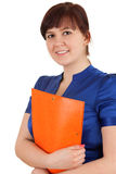 Fat student woman in blue blouse Stock Photo