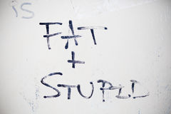 Fat and stupid graffiti Stock Photos