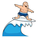 Fat surfer riding wave Stock Photography