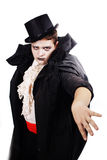 Fat teenager dressed as a vampire for Halloween Stock Photos