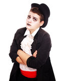 Fat teenager dressed as a vampire for Halloween Royalty Free Stock Image