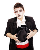 Fat teenager dressed as a vampire for Halloween Stock Images