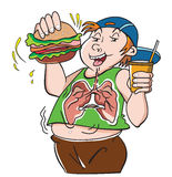Fat Teenager, illustration. Fat Teenager, with Hamburger Sandwich and Drink, Bad for the Lungs, vector illustration Royalty Free Stock Photography