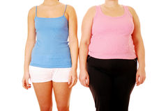 Fat Thin. Slim and fat woman with different body shapes facing to camera Royalty Free Stock Photography
