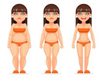 Fat thin female character different stages health diet cartoon design vector illustration. Fat thin female character different health stages diet cartoon design royalty free illustration
