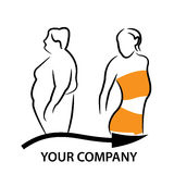 Fat and Thin Girl, Before and After. Fat and Thin Girl Before and After - Vector Royalty Free Stock Images