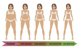 Fat and thin girls. Before and after weight loss woman diet. From Fat to slim female bodies by five steps. Fat and thin girls. Healthy and unhealthy lifestyle Stock Images