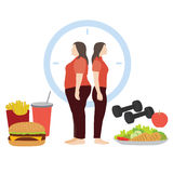 Fat and thin woman body. Vector illustration of fat and thin woman body transformation Vector Illustration