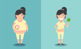 Fat and thin woman before and after concept. Illustration Royalty Free Stock Image