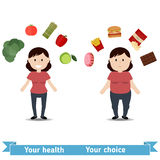 Fat and thin woman. Healthy and unhealthy lifestyle concept. Fat and thin woman. Icons of healthy foods and unhealthy foods Stock Photo