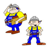 Fat and Thin Workmen/Craftsmen. Cartoon Royalty Free Stock Photo
