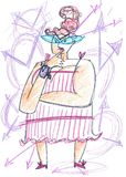 Fat time lady concept illustration Stock Image