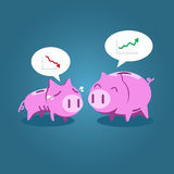 Fat and tiny piggy bank talking about financial situation Stock Photo