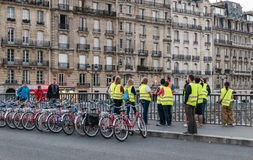 Fat Tire Bike Tours group prepares to ride, Paris Royalty Free Stock Photography