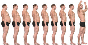 Fat to Fit Before After 3D Man Weight Loss Success. A man diets and exercises from fat to fitness in before and after series of 3D renders Stock Images