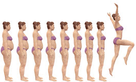 Fat to Fit Before After Diet Weight Loss Success. A woman diets from fat to fitness in before and after series of 3D renders Stock Image