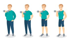 From fat to fit. Man getting slim with exercises Royalty Free Stock Photo