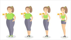 From fat to fit. Woman getting slim with exercises Stock Photos