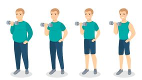 From fat to fit. Man slimming and getting fit Stock Photo