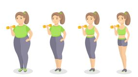 From fat to fit. Woman slimming and getting fit Stock Photography