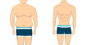 From fat to slim body. From fat to slim and healthy body. Before and after concept. Changing lifestyle and body shape Royalty Free Stock Photo