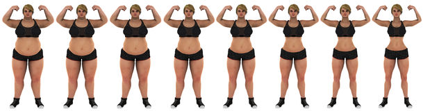 Fat to slim woman weight loss transformation front. Fat to slim woman weight loss transformation. front shot, women looking at front, camera. Wearing a black stock photos