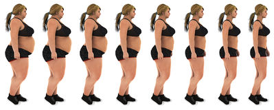 Fat to slim woman weight loss transformation profile shot. Fat to slim woman weight loss transformation.  profile shot, women looking side. Wearing a black sport