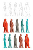 Fat to thin. Image of human figure change between fat to thin. All the color use global color and Stock Photos