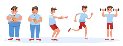 From fat to thin banner concept. Overweight man stock illustration