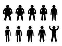 Fat to Thin, Slim to Muscular. A set of pictogram representing the process from fat to thin and slim to muscular Stock Photos