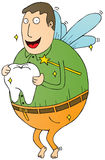 Fat tooth fairy. A fat tooth fairy holding a big tooth vector illustration