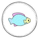 Fat tropical fish isolated on white background. Coral fish cartoon  illustration. Underwater animal handdrawn patch. Aquarium fish drawing. Tropical sea animal Stock Photo
