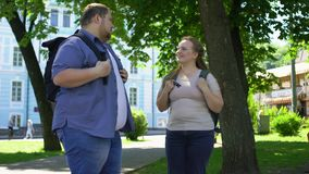 Fat university students talking and smiling, romantic date in park, friendship stock footage