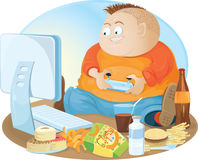 Fat video gamer Stock Image