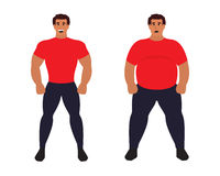 Fat vs slim man. Healthy Sport athletic body comparing to unhealthy. Flat vector illustration Stock Photography